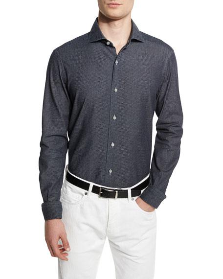 Ermenegildo Zegna Jacquard Long-Sleeve Denim Sport Shirt, Dark