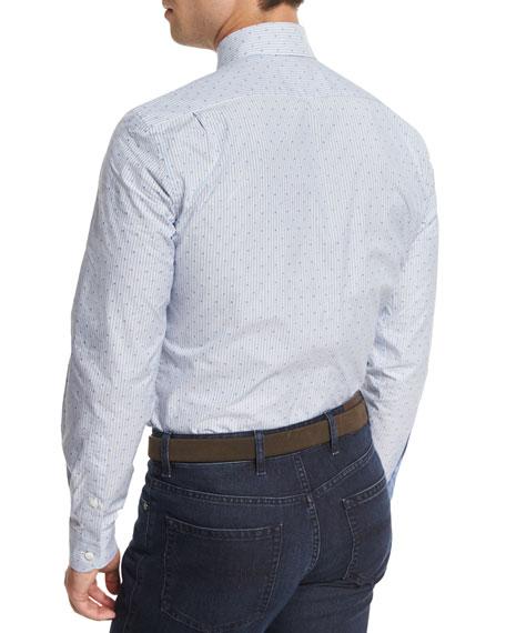 Jacquard-Stripe Long-Sleeve Sport Shirt, Light Blue