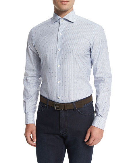 Ermenegildo Zegna Jacquard-Stripe Long-Sleeve Sport Shirt, Light