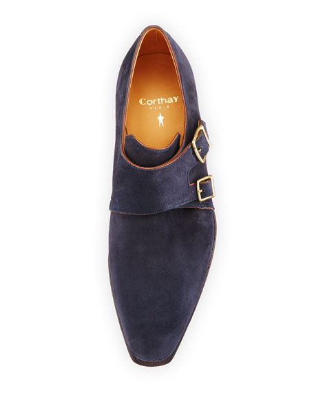 Arca Suede Double-Monk Shoe, Navy