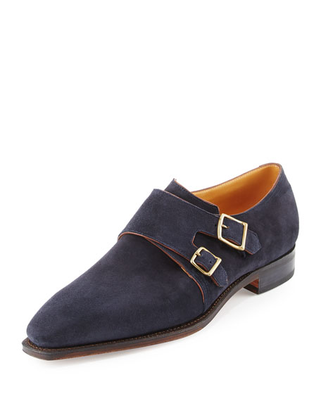 Corthay Arca Suede Double-Monk Shoe, Navy