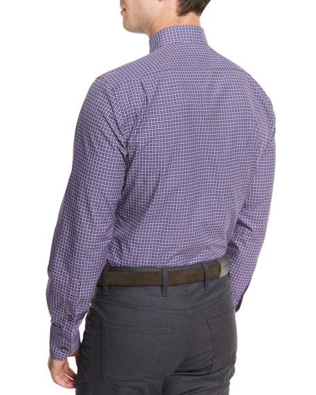 Gingham Jacquard Long-Sleeve Sport Shirt, Navy