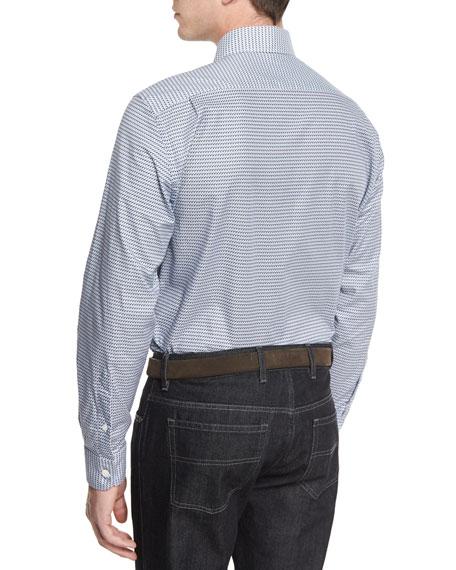 Fishing-Print Long-Sleeve Sport Shirt, Navy
