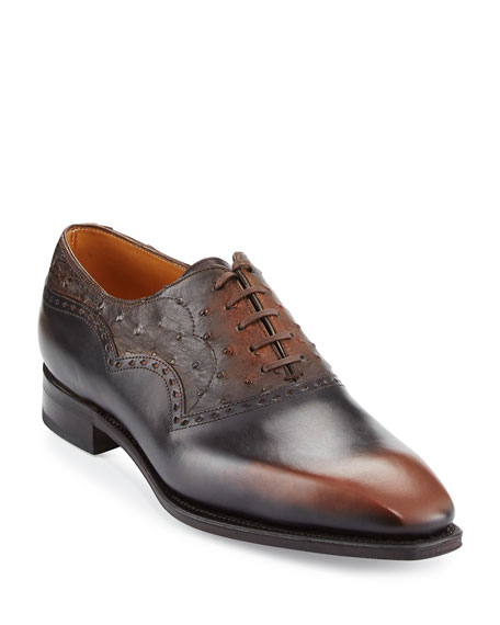 Corthay Wilfrid Ostrich & Leather Oxford Shoe, Brown