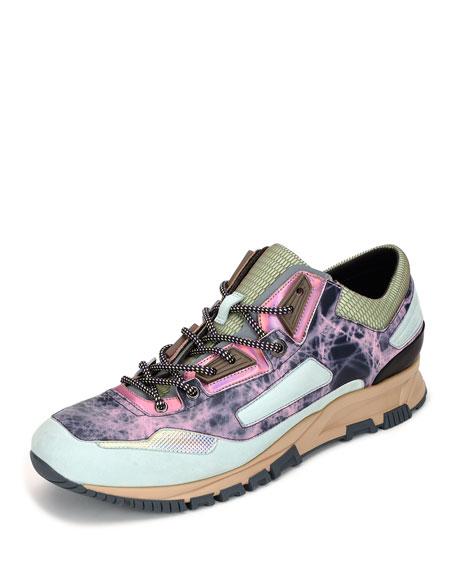 Men's Metallic Leather Running Sneakers, Multicolor
