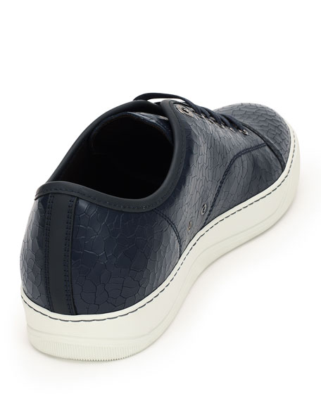 Men's Cracked Patent Leather Low-Top Sneakers