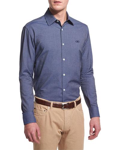 Denim-Dyed Gabardine Long-Sleeve Sport Shirt, Blue