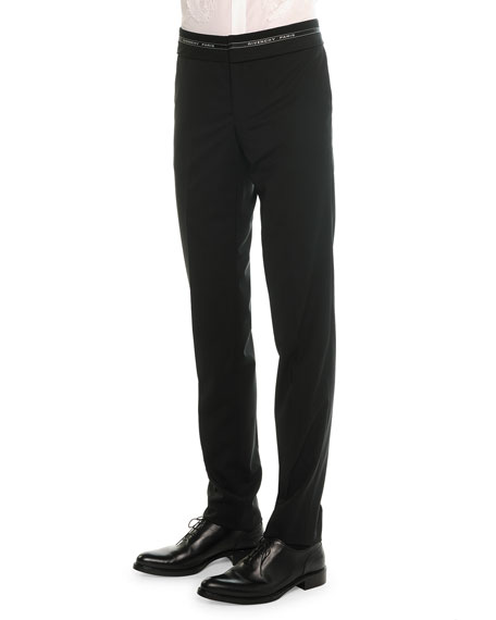 Givenchy Logo-Waist Wool Trousers, Black