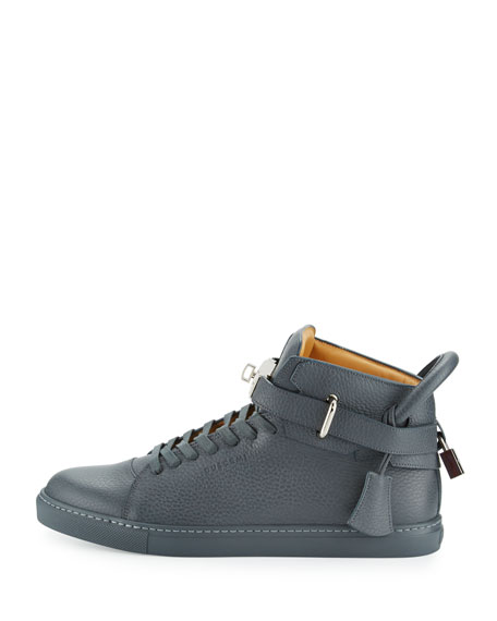 100mm Men's Leather High-Top Sneakers, Dark Gray