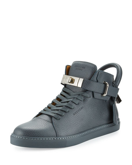 Buscemi 100mm Men's Leather High-Top Sneakers, Dark Gray