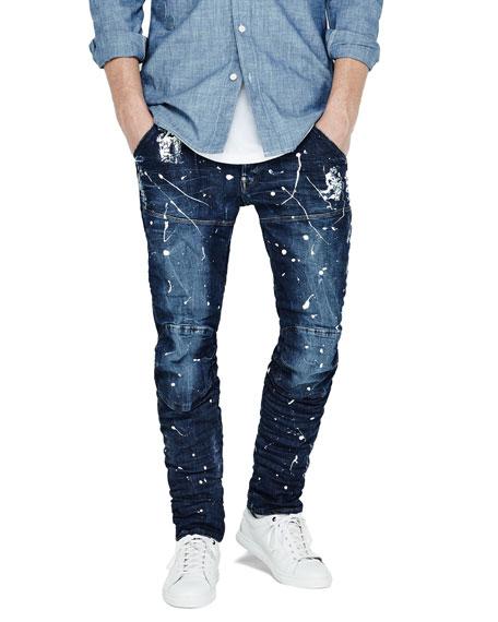 Paint-Splatter Denim Moto Jeans, Extreme Painted