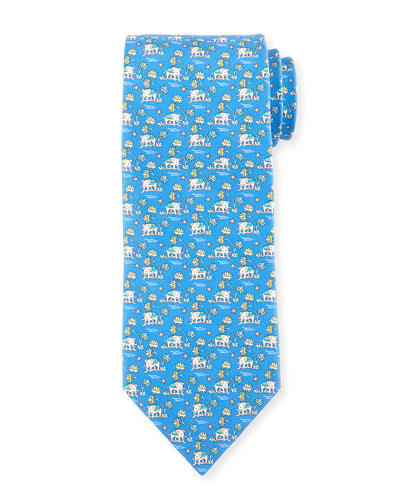 Elephant & Tree Printed Silk Tie