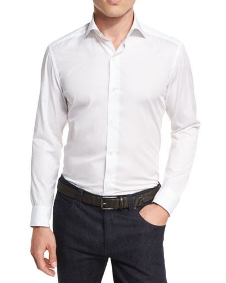 Ermenegildo Zegna Solid Cotton Shirt, White