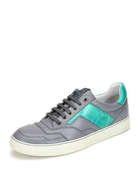 Men's Holographic Leather Low-Top Sneakers
