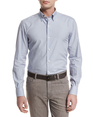 Shadow-Check Long-Sleeve Sport Shirt, Light Gray