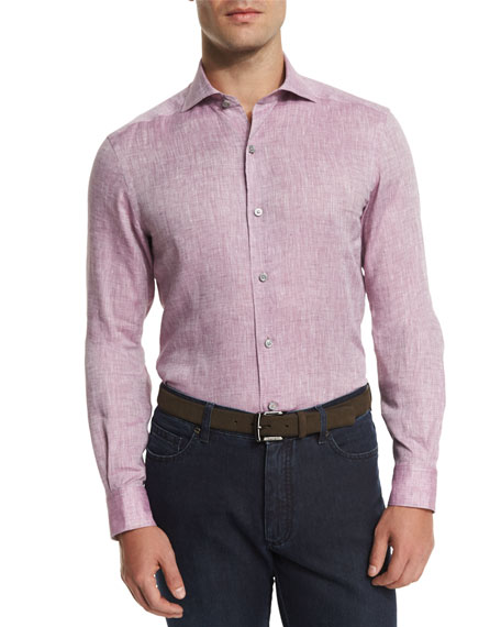 Ermenegildo Zegna Linen Long-Sleeve Sport Shirt, Wine