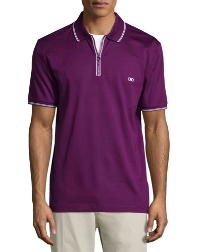 Short-Sleeve Zip Polo Shirt, Purple