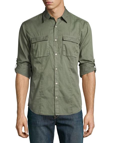 Chino Roll-Tab Utility Shirt, Olive