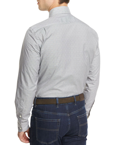 Micro-Check Long-Sleeve Sport Shirt, Dark Gray