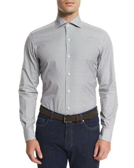 Ermenegildo Zegna Micro-Check Long-Sleeve Sport Shirt, Dark Gray