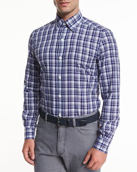 Ermenegildo Zegna Large Plaid Long-Sleeve Sport Shirt, Navy