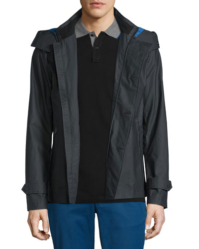 Double-Breasted Peacoat with Removable Hood  Black