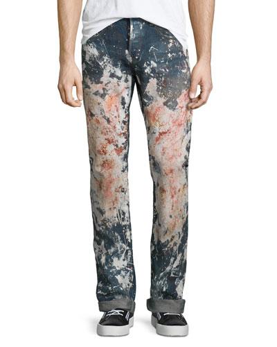 Allover Paint-Splatter Straight-Leg Denim Jeans  Medium Wash