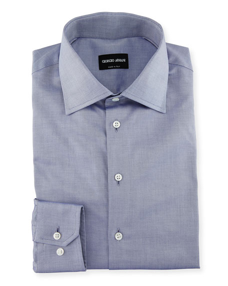 Solid Cotton Dress Shirt, Blue