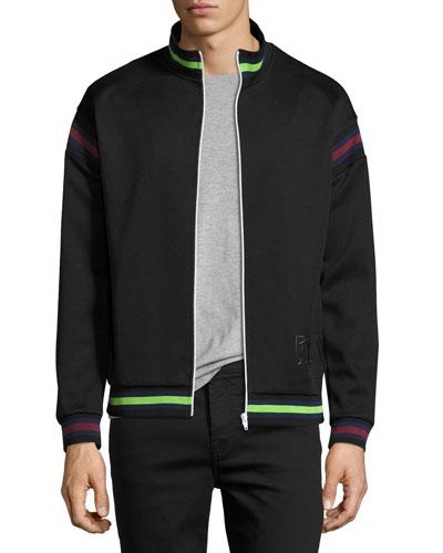 Striped Zip-Front Cycle Jacket, Darkest Black