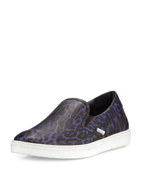 Jimmy Choo Grove Men's Leopard-Print Slip-On Sneaker