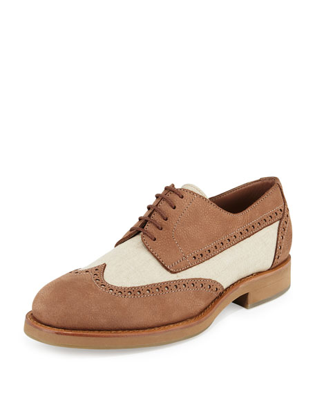 Brunello Cucinelli Mixed Media Wing-Tip Shoe, Beige