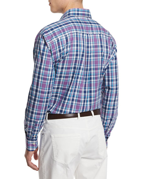 Multi-Plaid Long-Sleeve Sport Shirt, Blue