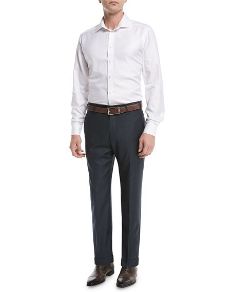 Parker Flat-Front Sharkskin Trousers, Navy