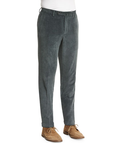 Wide-Wale Corduroy Pants, Moss Green