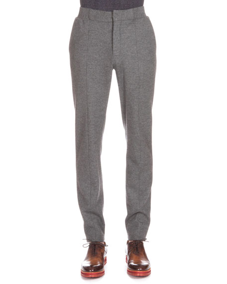 Berluti Flannel Jogger Pants, Charcoal