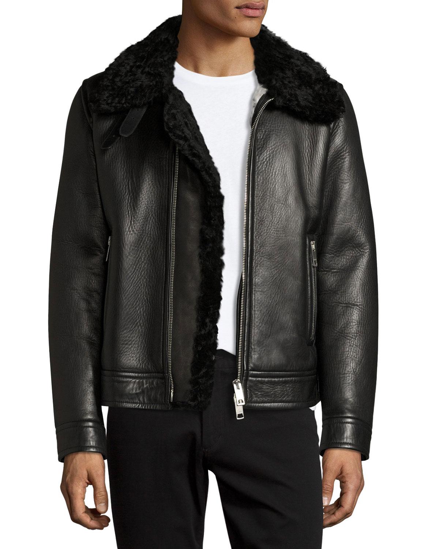 Burberry Lambskin Shearling Aviator Jacket Black Neiman Marcus