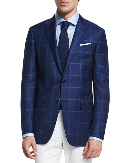 Ermenegildo Zegna Milano Plaid Two-Button Trofeo?? Wool Blazer,