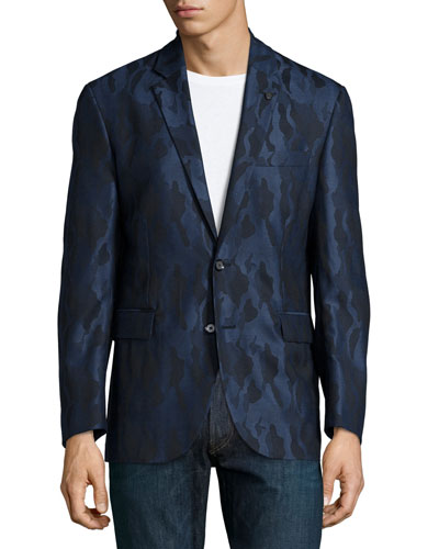 Albert Bridge Camo-Print Sport Coat, Navy