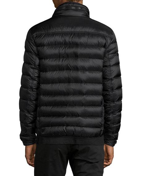 Norbert Nylon Jacket with Hidden Hood, Black