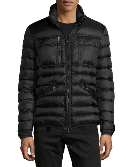Norbert Nylon Jacket with Hidden Hood, Black