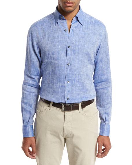 Ermenegildo Zegna Linen Sport Shirt, Medium Blue