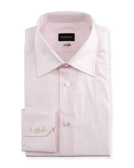 Ermenegildo Zegna 100Fili Solid Dress Shirt, Pink