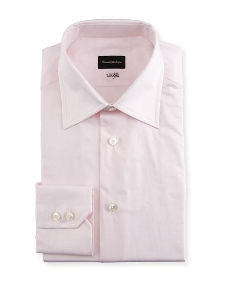 Ermenegildo Zegna 100Fili Solid Dress Shirt, Pink