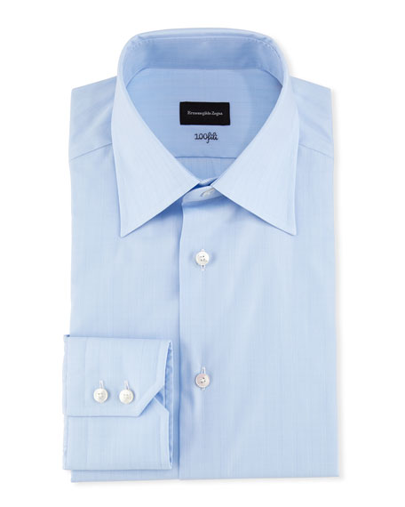 Ermenegildo Zegna 100Fili Tonal Box Dress Shirt, Blue