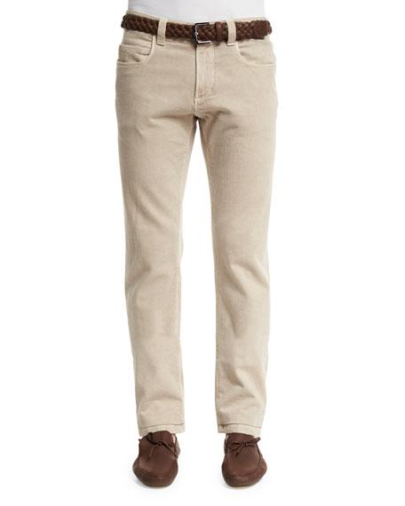 Loro Piana Five-Pocket Slim-Fit Pants, Light Nougat