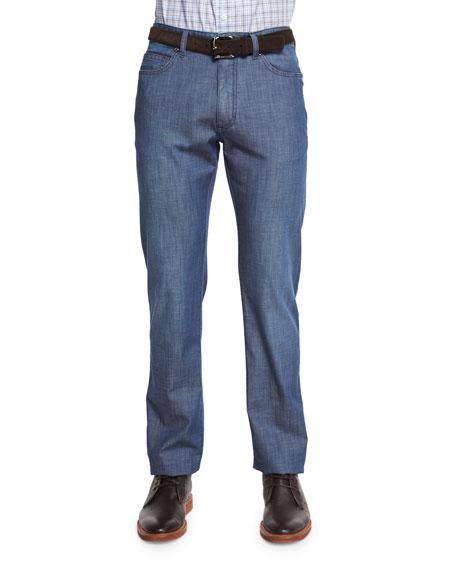 Ermenegildo Zegna Five-Pocket Dark Wash Jeans, Blue