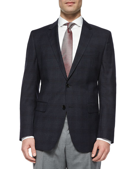 Boss Hugo Boss Plaid with Windowpane Two-Button Jacket,