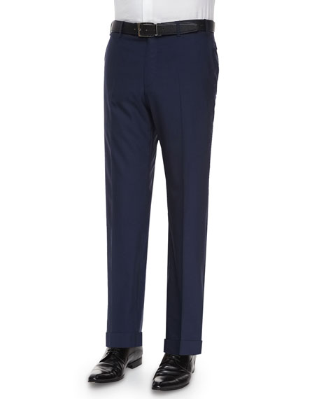 Parker Flat-Front Super 150's Trousers, Blue