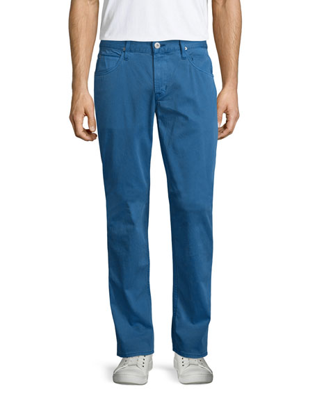 Hudson Blake Seascape Slim-Straight Twill Pants, Blue