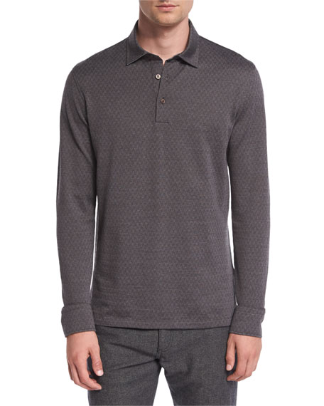 Ermenegildo Zegna Herringbone Long-Sleeve Polo Shirt